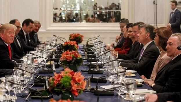 Temer e Donald Trump em jantar de trabalho