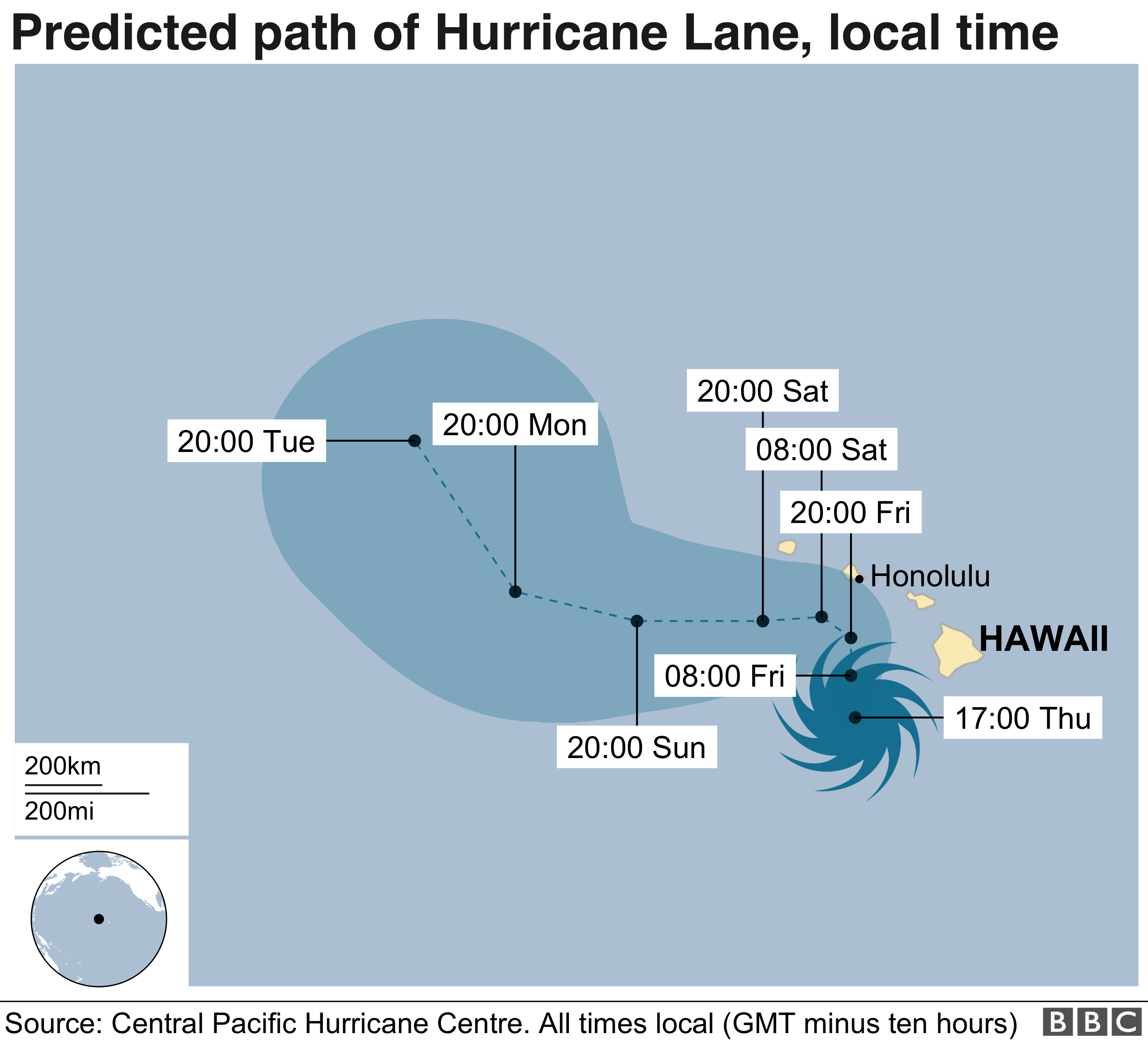 Map showing predicted path of Hurricane Lane