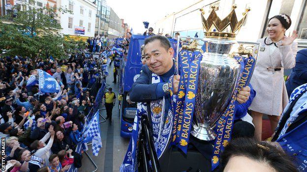 Leicester celebrate their Premier League title win in 2016