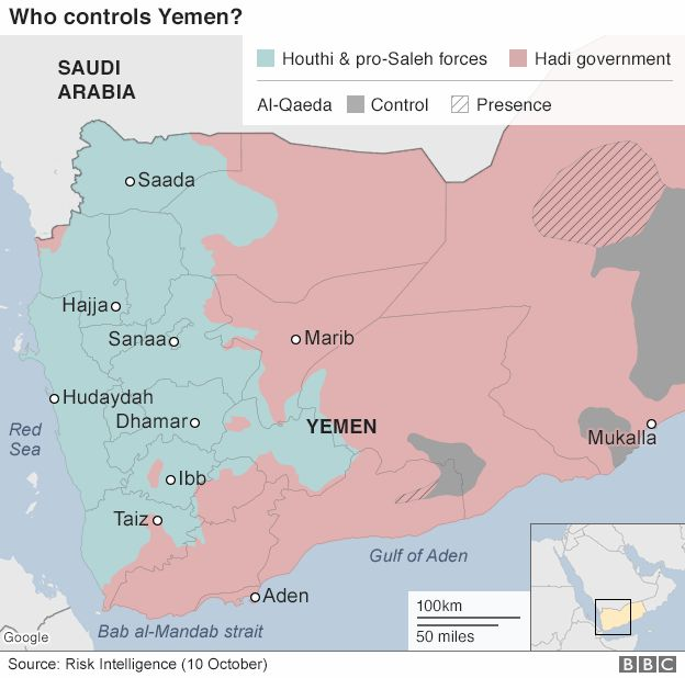 Map of control of Yemen (10 October 2016)