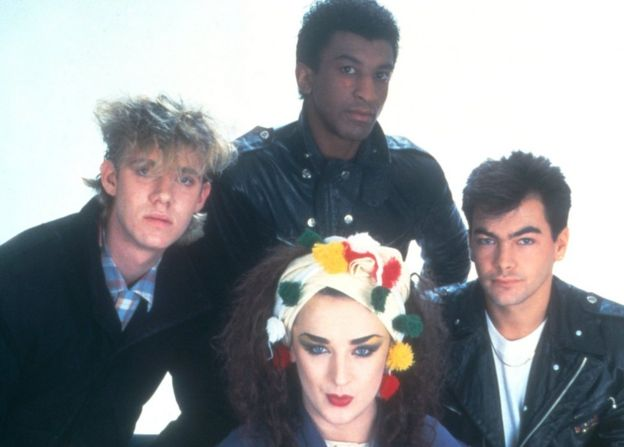 Culture Club in 1983 (L-R): Roy Hay, Mikey Craig, Boy George, Jon Moss