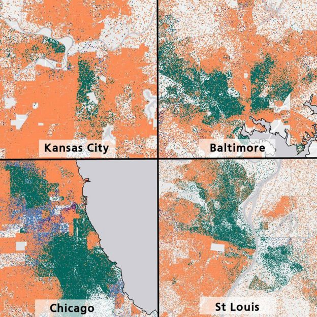 image caption a map of recent us housing and urban development data shows segregated housing patterns each dot represents five people