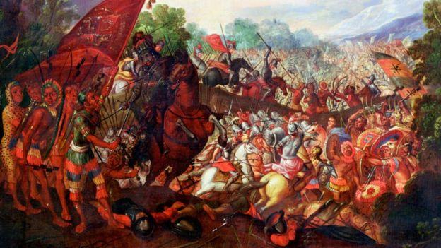 墨西哥阿茲特克,1520年,西班牙殖民者遭遇當地人勇猛抵抗。