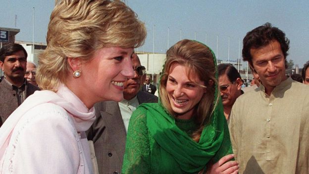Diana, Princess of Wales, is welcomed to Lahore by Imran and Jemima Khan in Apri 1996