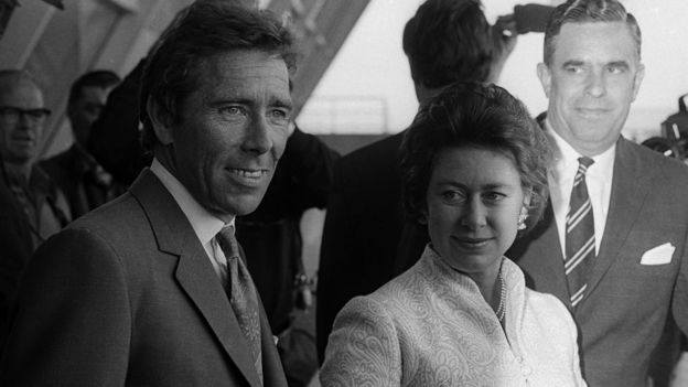 Princess Margaret and husband Lord Snowdon at JFK Airport on May 2, 1974 in New York City.