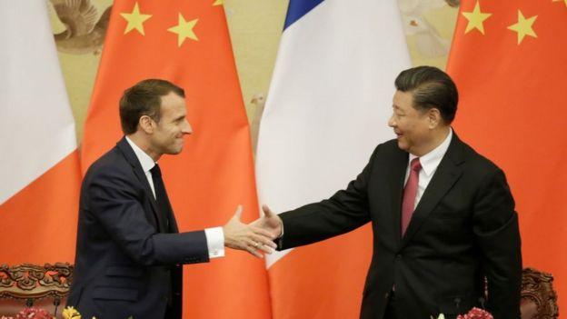 امانوئل مکرون، رئیس جمهوری فرانسه و شی جین پینگ