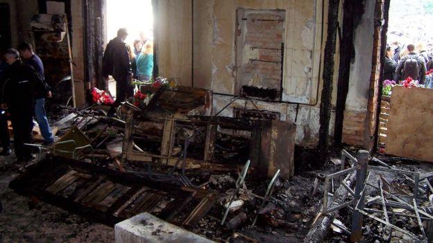 Будинок профспілок в Одессі після пожежі