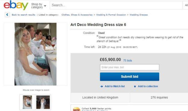 El anuncio de Ebay en el que Samantha Wragg vende su vestido de novia.