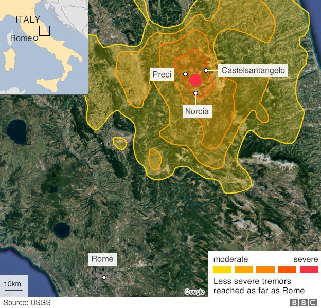 Map Of Italy Earthquake.Italy Quake Norcia Tremor Destroys Ancient Buildings Bbc News