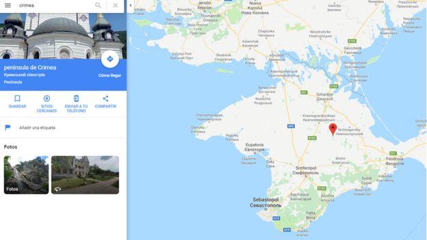 Crimea en Google Maps