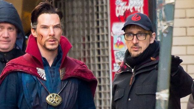 Benedict Cumberbatch and Scott Derrickson filming the first Doctor Strange movie