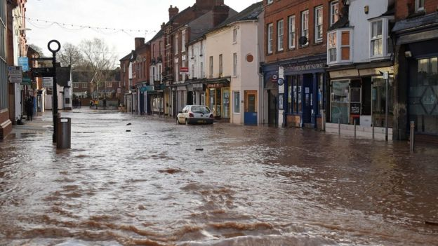 Flooded street in Tenbury Wells