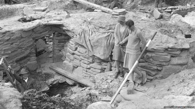 Archaeological dig at Skara Brae