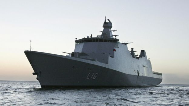 Danish naval support ship Absalon, 13 Jan 05 file pic