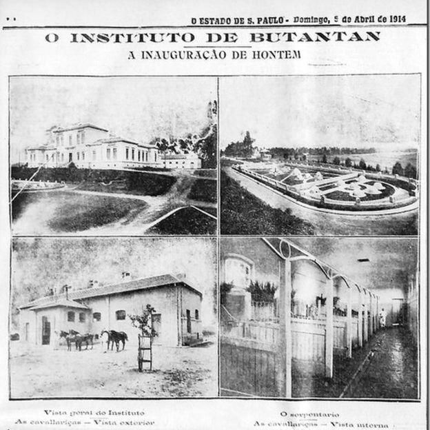 Capa do jornal O Estado de São Paulo sobre a inauguração do Butantan