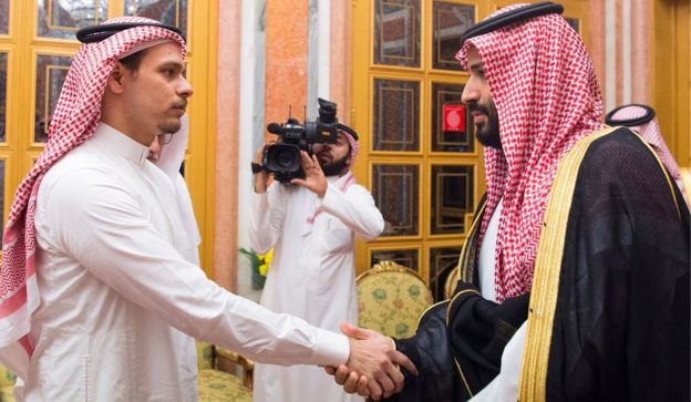 The Saudi crown prince (R) meets Khashoggis son, Salah, in Riyadh
