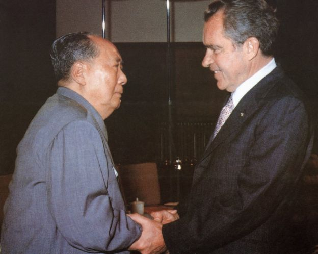 Mao and Nixon in Beijing.
