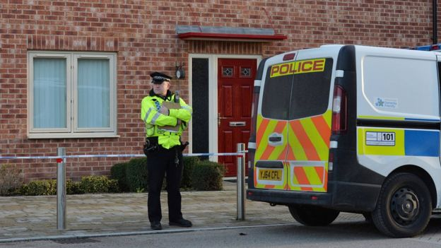 A police officer at the scene in Allerton Bywater