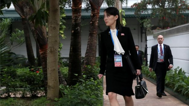 Kim Yo-jong looks on in the garden of the Metropole hotel during the Trump Kim talks, 28 February 2019
