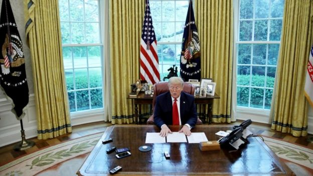 President Donald Trump in the Oval Office, 29 April 2020