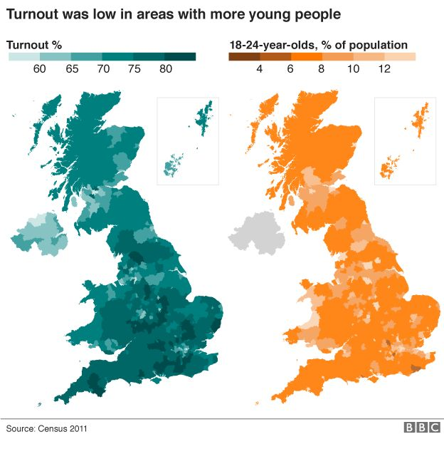 Map Uk Rail Lines, Maps Of Turnout And 18 24 Year Old Population Side By Side, Map Uk Rail Lines