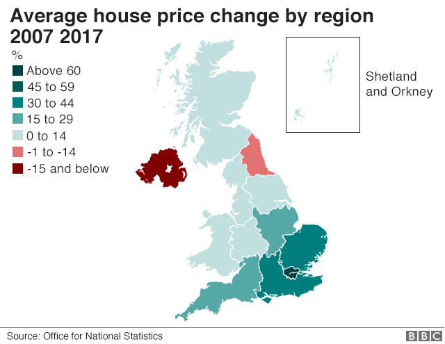 House price change by region