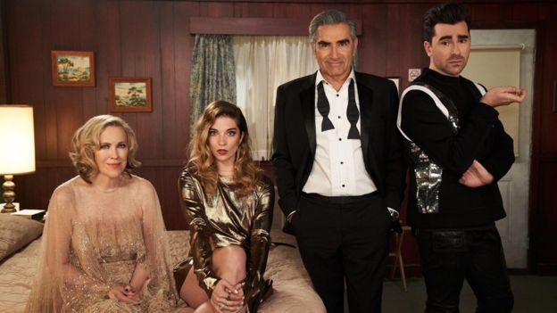 Left to right: Schitt's Creek stars Catherine O'Hara, Annie Murphy, Dan Levy and Eugene Levy
