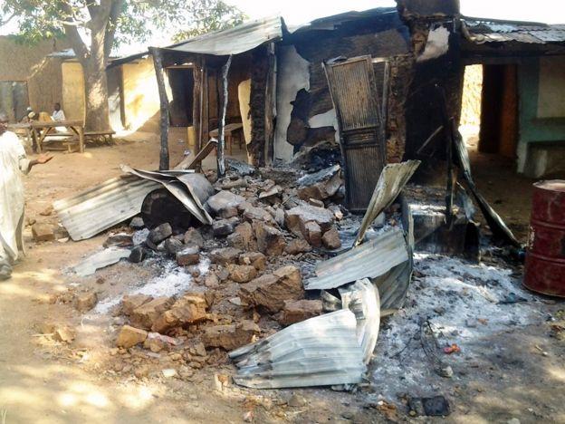 Image of a destroyed village in Zamfara State