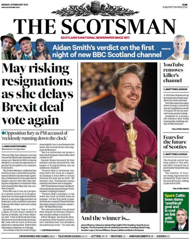 Journal Retracts 16 Year Old Paper >> Scotland S Papers May Fears Revolt After Brexit Vote Delay Bbc News