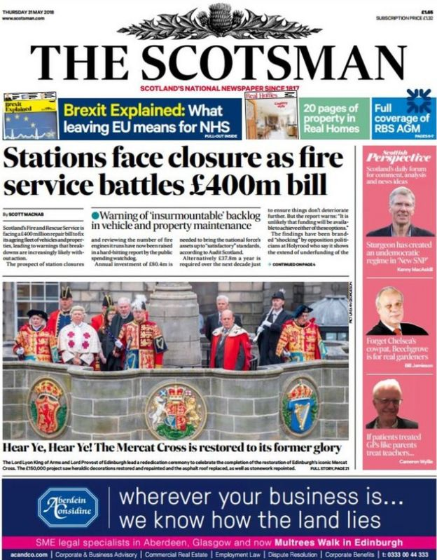 The papers: Fire station closure fears over £400m repair