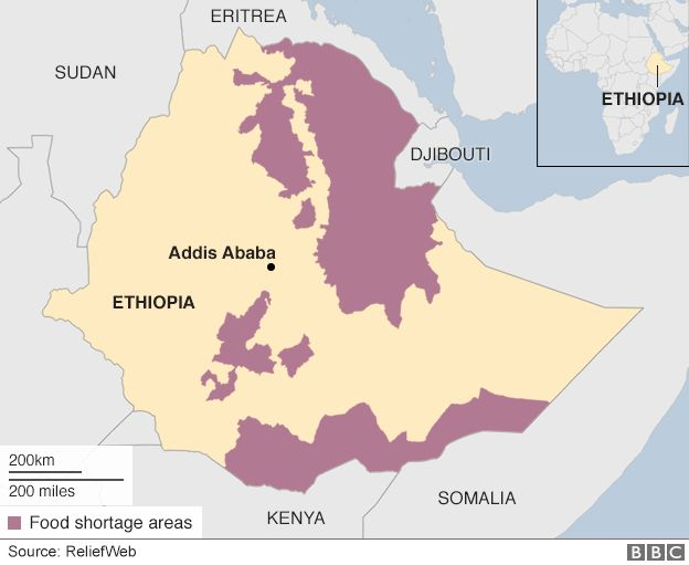Map of food shortage areas in Ethiopia