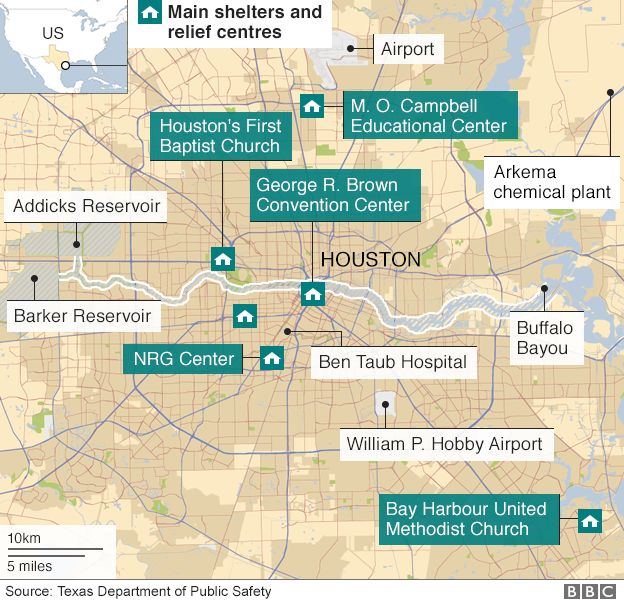 Houston Flood More Fires Expected At Stricken Arkema Plant BBC News - Us map houston