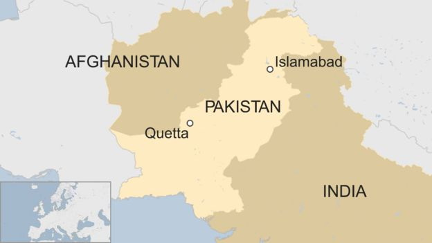 A map showing Quetta in Pakistan