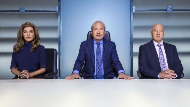 The Apprentice host Alan Sugar in the boardroom with Karen and Claude