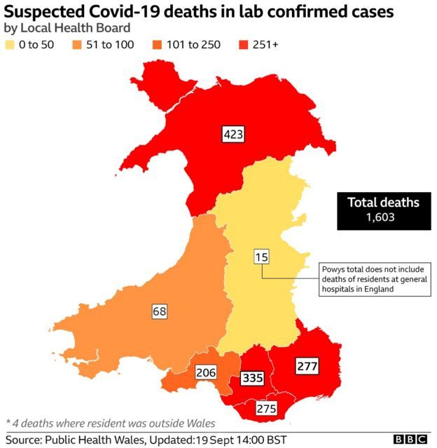Map showing deaths across Wales