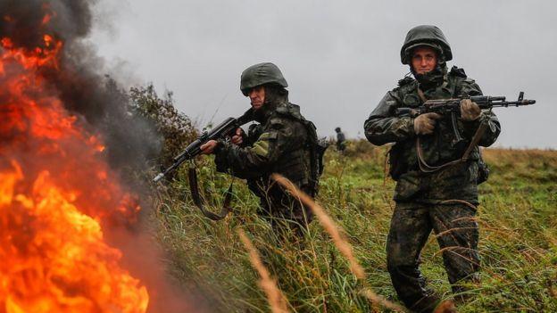 Russian troops training in Belarus, 18 Sep 17