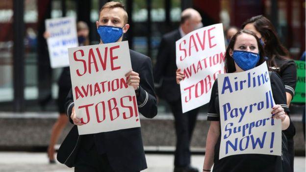 Protesta de trabajadores despedidos en Estados Unidos.