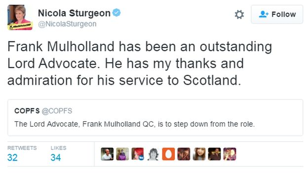 Frank Mulholland has been an outstanding Lord Advocate. He has my thanks and admiration for his service to Scotland.