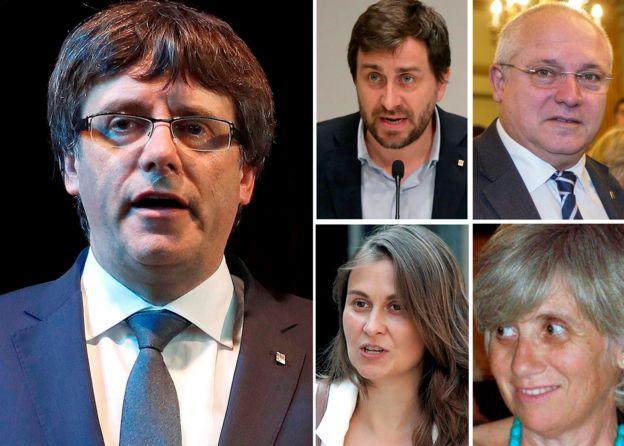Carles Puigdemont, Antoni Comin, Lluis Puig, Meritxell Serret, y Clara Ponsati.