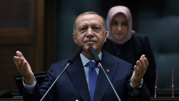 Turkish President Tayyip Erdogan addresses members of his ruling AK Party in Ankara, Turkey