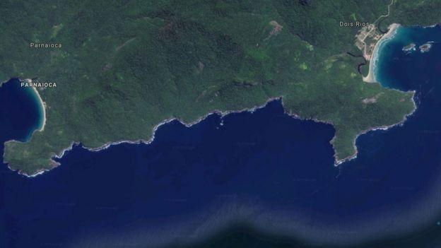 Vista de satélite de parte da Ilha Grande, no Rio de Janeiro