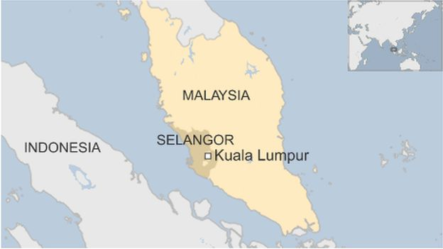 Map showing Selangor state in Malaysia