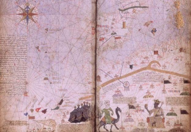 Perjalanan ke Mekah membuat Mali dan Mansa Musa dikenal dunia - sebuah fotokopi peta Catalan Atlas dari 1375