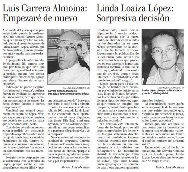 Artículo de El Nacional del 22 de octubre de 2004.