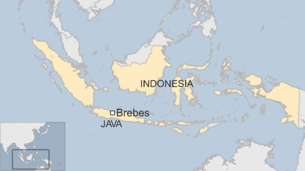 map of Indonesia showing Java island and Brebes city