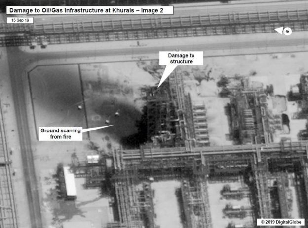 This images appears to show damage at the Khurais oil field