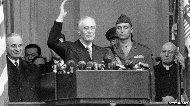 Franklin D Roosevelt at his inauguration for a fourth term as US president in 1945