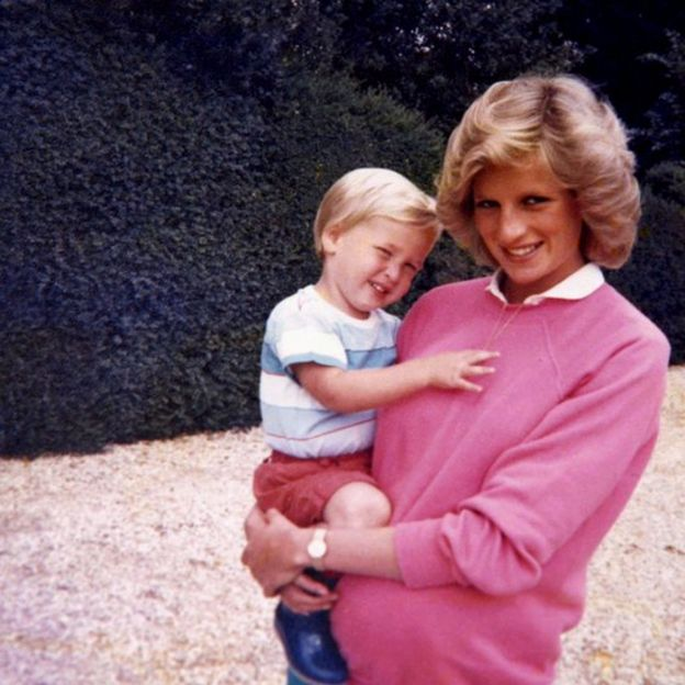 Prince William with Diana, Princess of Wales