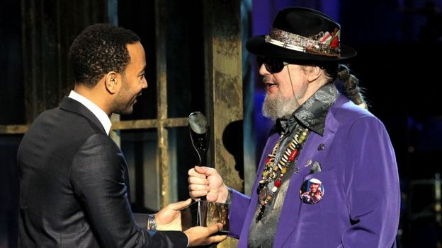 John Legend inducting Dr John at the the Rock and Roll Hall of Fame ceremony