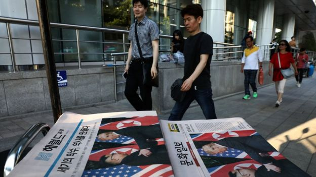 South Korean newspapers reporting the Trump-Kim summit
